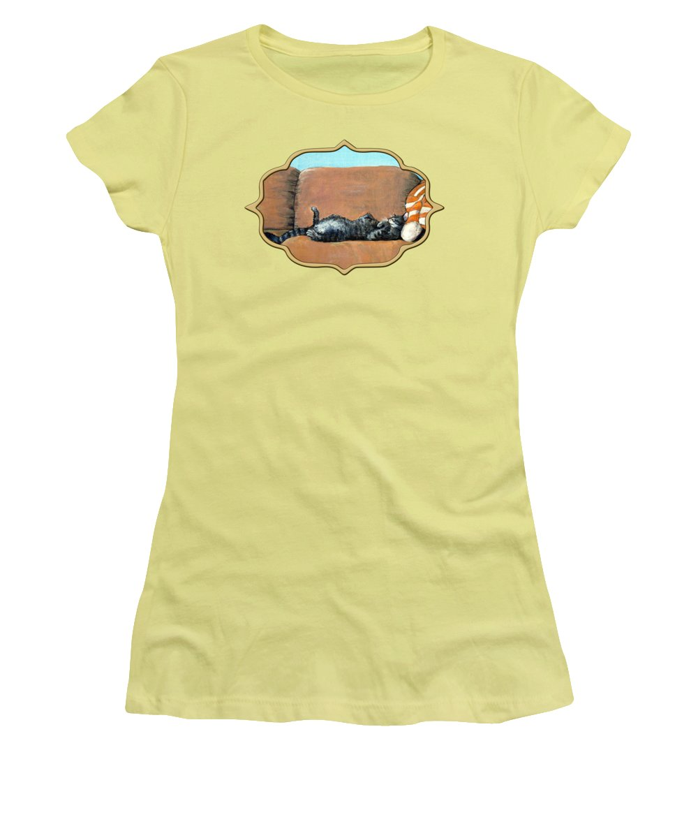 Calm Women's T-Shirt (Athletic Fit) featuring the painting Sleeping Cat by Anastasiya Malakhova