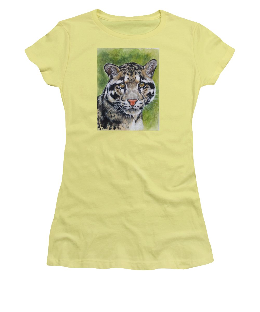 Clouded Leopard Women's T-Shirt (Athletic Fit) featuring the mixed media Small But Powerful by Barbara Keith