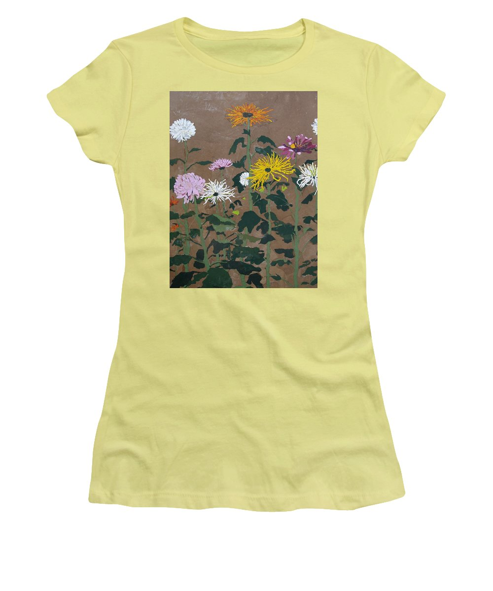Collage Women's T-Shirt (Athletic Fit) featuring the painting Smith's Giant Chrysanthemums by Leah Tomaino