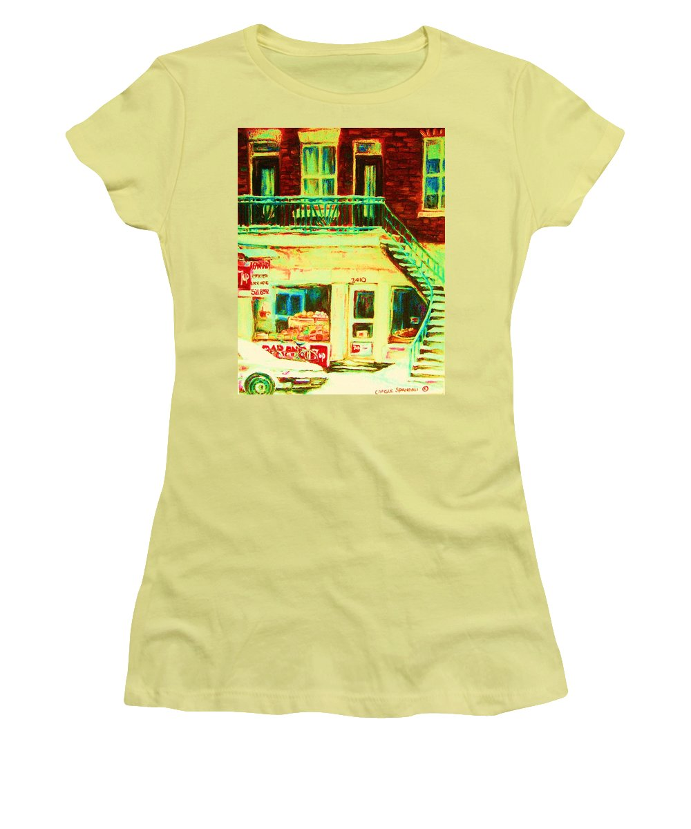Staircases Women's T-Shirt (Athletic Fit) featuring the painting Snowcovered Steps by Carole Spandau