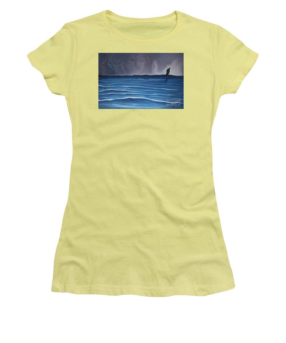 Tmad Women's T-Shirt (Athletic Fit) featuring the painting Solitude by Michael TMAD Finney