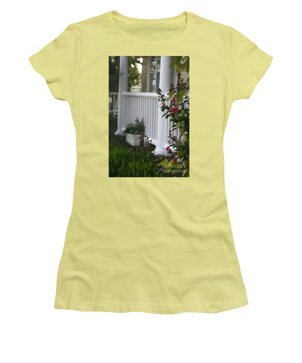 Summer Women's T-Shirt (Athletic Fit) featuring the photograph Southern Summer Flowers And Porch by Nadine Rippelmeyer