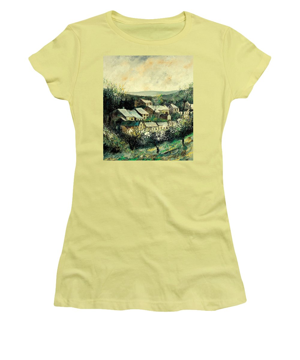 Spring Women's T-Shirt (Athletic Fit) featuring the painting Spring In The Ardennes Belgium by Pol Ledent