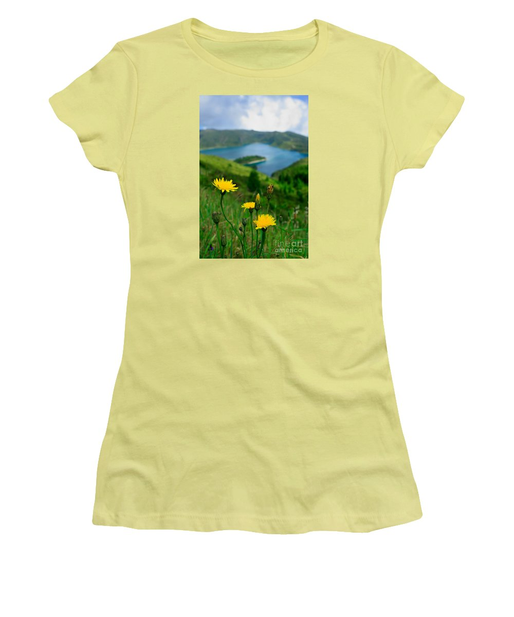 Caldera Women's T-Shirt (Athletic Fit) featuring the photograph Springtime In Fogo Crater by Gaspar Avila