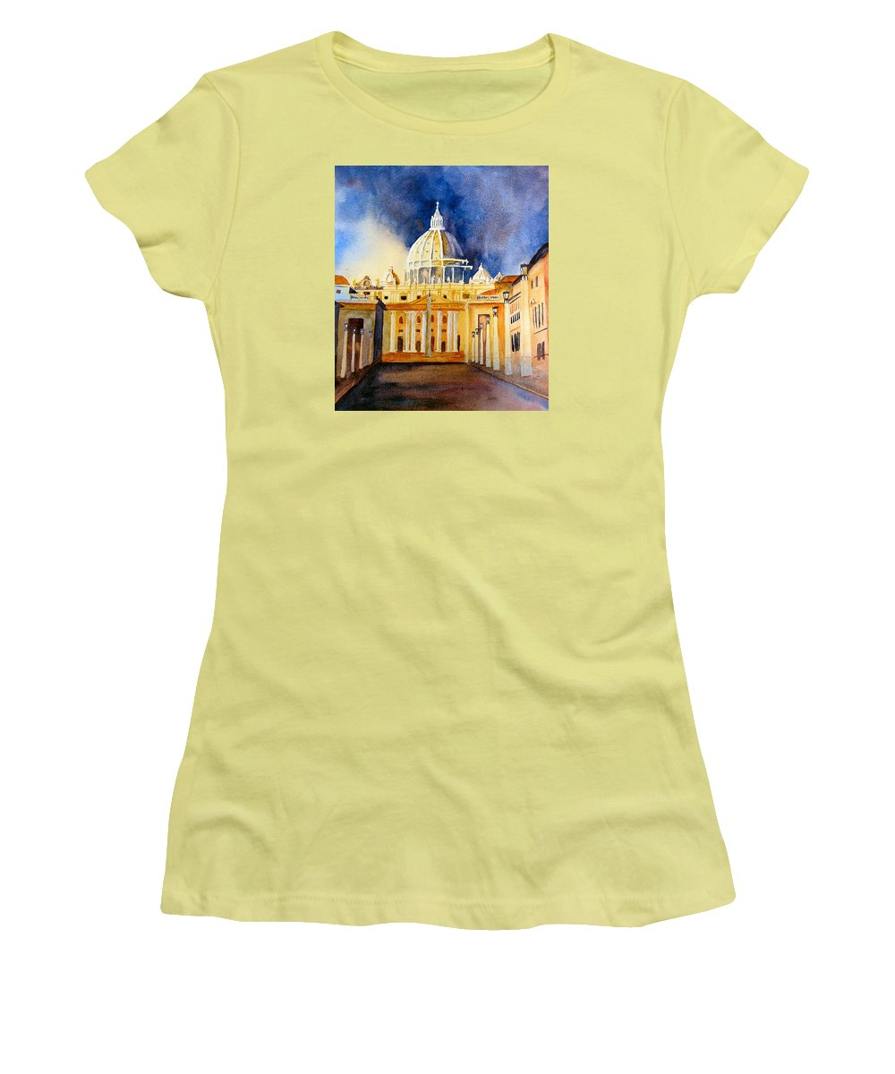 Vatican Women's T-Shirt (Athletic Fit) featuring the painting St. Peters Basilica by Karen Stark