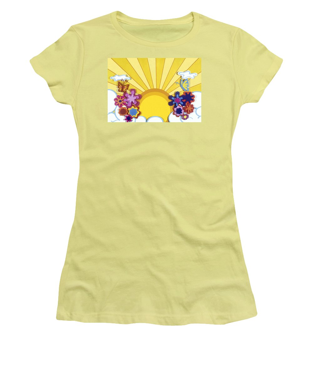 Nature Women's T-Shirt (Athletic Fit) featuring the drawing Sunburst by Lucyna A M Green