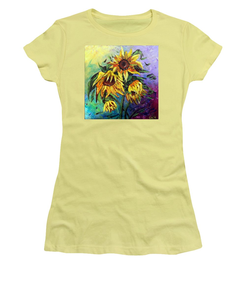 Art Women's T-Shirt (Athletic Fit) featuring the painting Sunflowers In The Rain by Luiza Vizoli