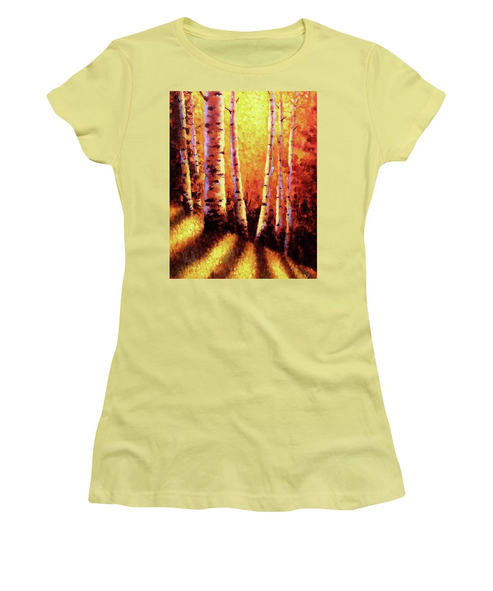 Sunlight Women's T-Shirt (Athletic Fit) featuring the painting Sunlight Through The Aspens by David G Paul