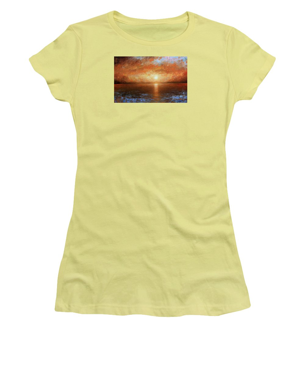 Landscape Women's T-Shirt (Athletic Fit) featuring the painting Sunset by Arthur Braginsky