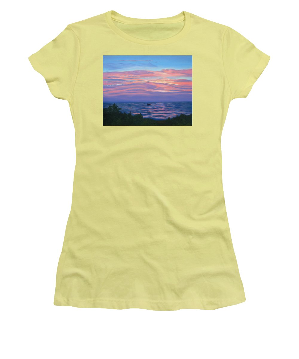 Seascape Women's T-Shirt (Athletic Fit) featuring the painting Sunset Bay by Lea Novak