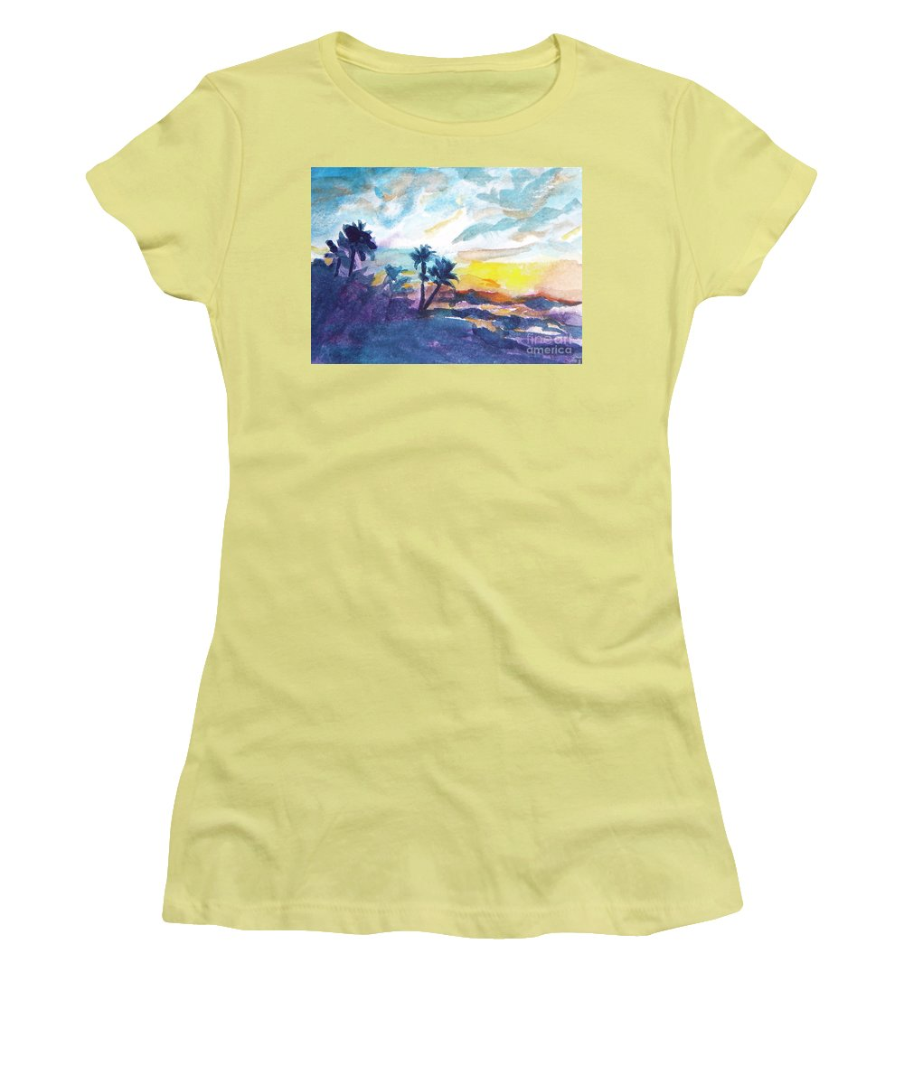 Landscape Women's T-Shirt (Athletic Fit) featuring the painting Sunset In Hawaii by Jan Bennicoff