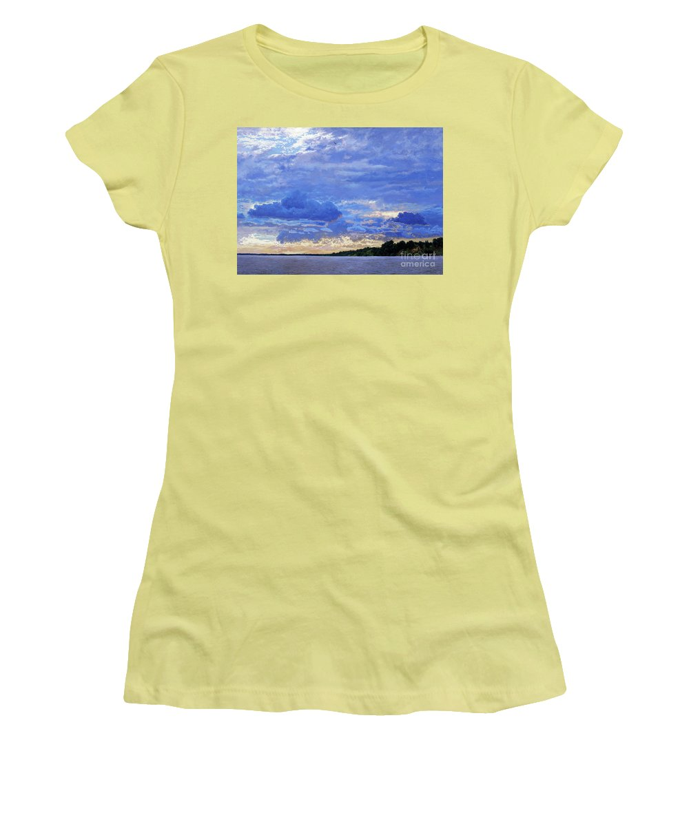 Landscapes Women's T-Shirt (Athletic Fit) featuring the painting Sunset On The Volga. Gorodets by Simon Kozhin