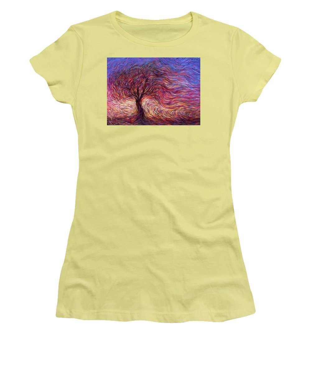 Tree Women's T-Shirt (Athletic Fit) featuring the painting Sunset Tree by Hans Droog