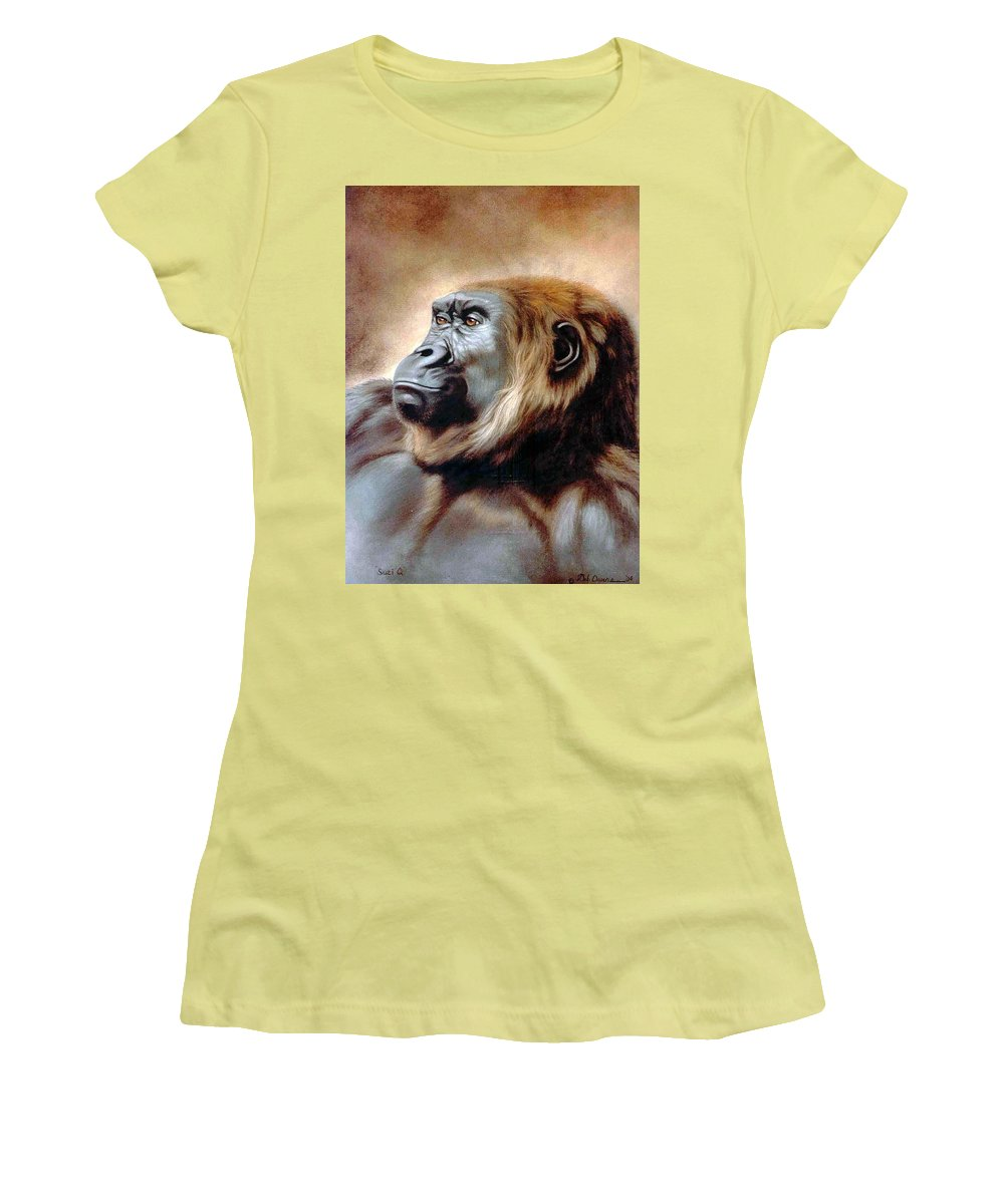 Gorilla Women's T-Shirt (Athletic Fit) featuring the painting Suzie Q by Deb Owens-Lowe