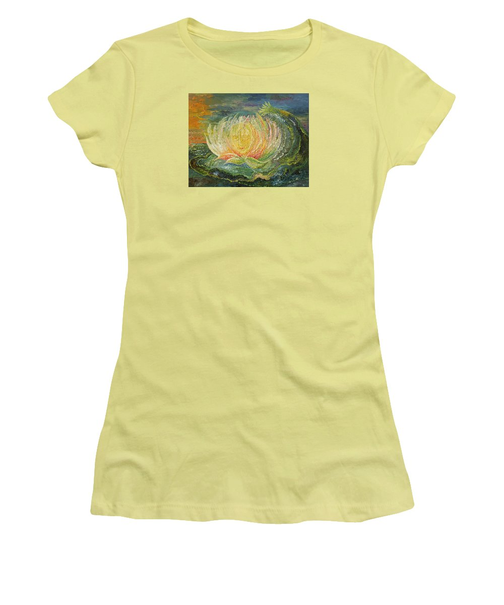 Flower Women's T-Shirt (Athletic Fit) featuring the painting Sweet Morning Dream by Karina Ishkhanova