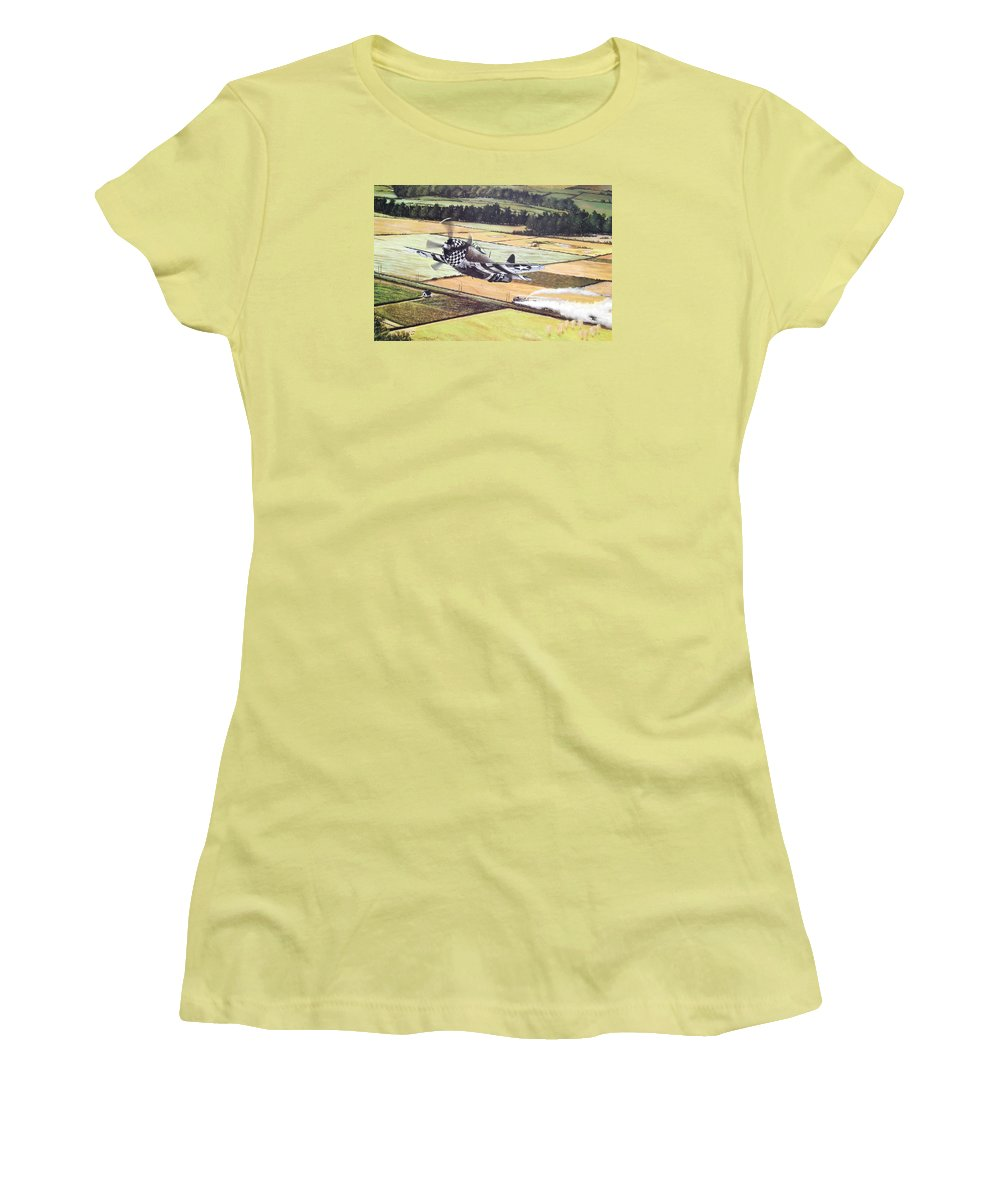 Military Women's T-Shirt (Junior Cut) featuring the painting Target Of Opportunity by Marc Stewart