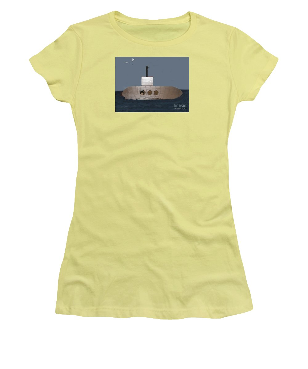 Children Women's T-Shirt (Athletic Fit) featuring the photograph Teddy In Submarine by Reb Frost