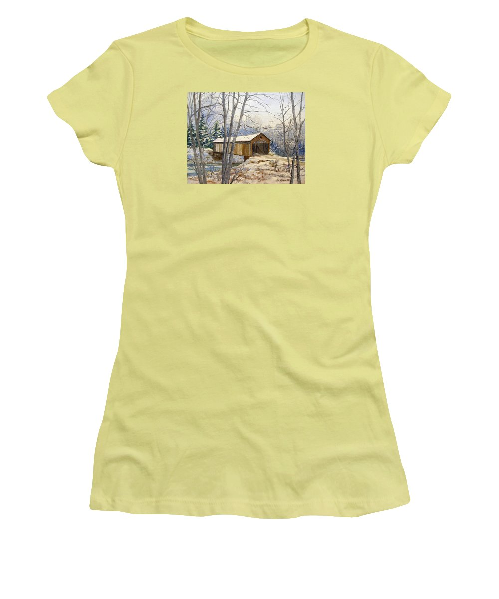 Oil Painting;bridge;covered Bridge;winter Scene;snow;landscape;winter Landscape; Women's T-Shirt (Athletic Fit) featuring the painting Teegarden Covered Bridge In Winter by Lois Mountz