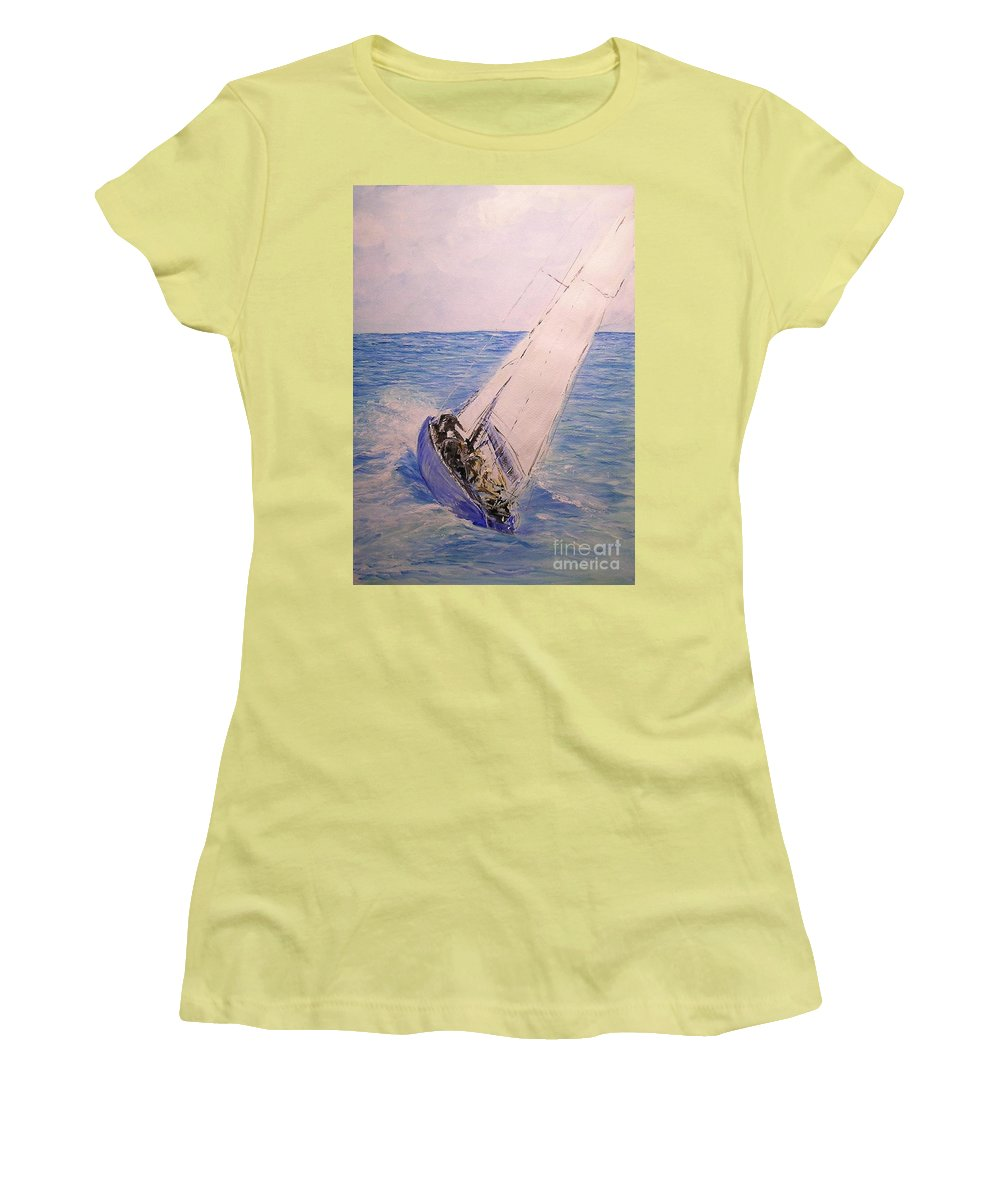 Seascape Women's T-Shirt (Athletic Fit) featuring the painting Tell Tails In The Wind by Lizzy Forrester