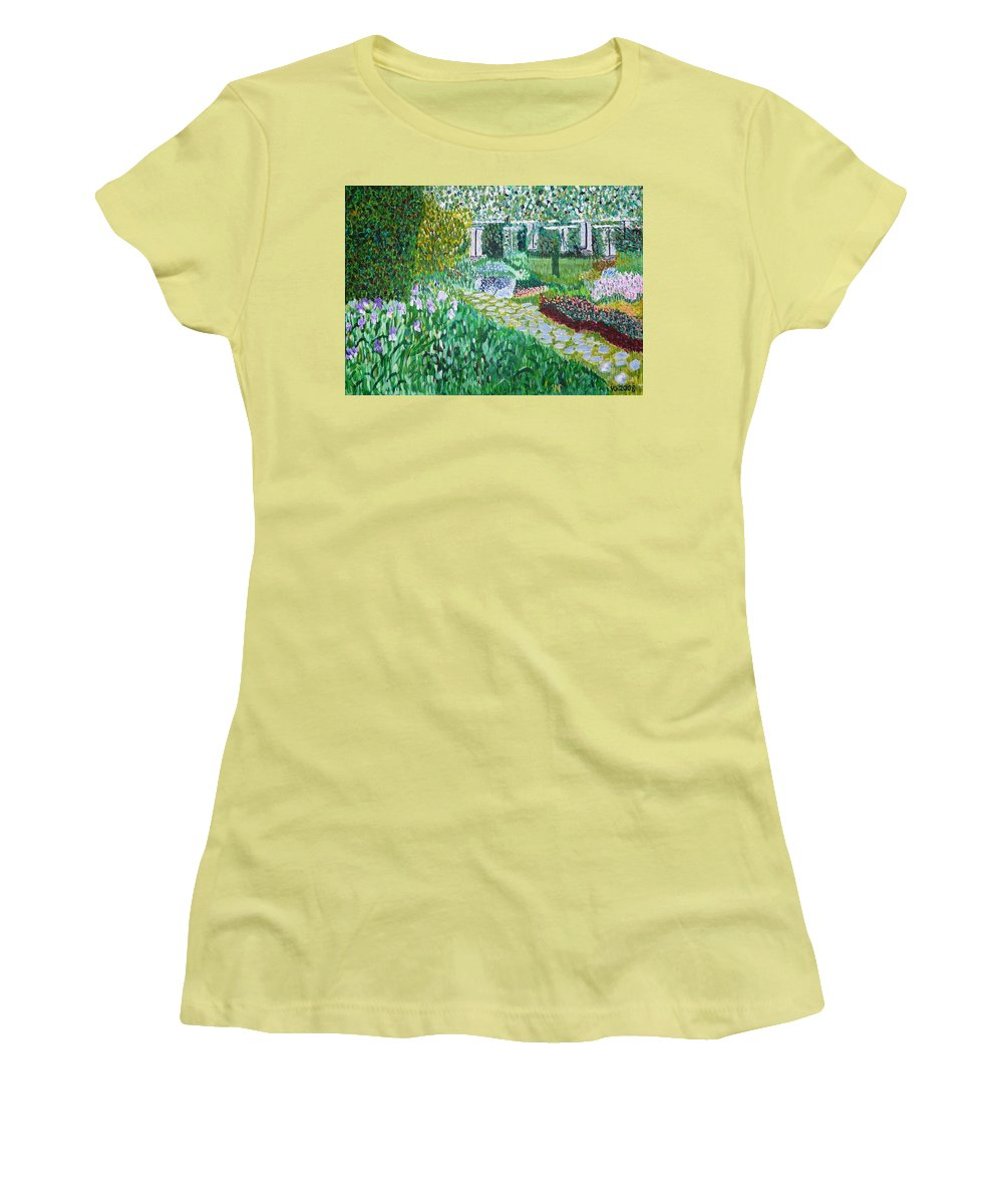 Landscape Women's T-Shirt (Athletic Fit) featuring the painting Tete D'or Park Lyon France by Valerie Ornstein