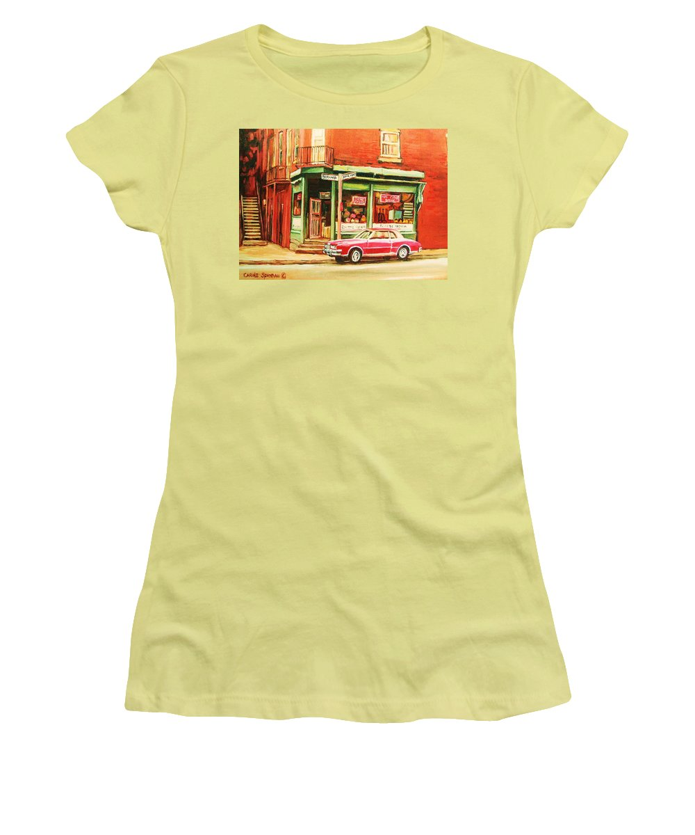 Montreal Women's T-Shirt (Athletic Fit) featuring the painting The Arcadia Five And Dime Store by Carole Spandau