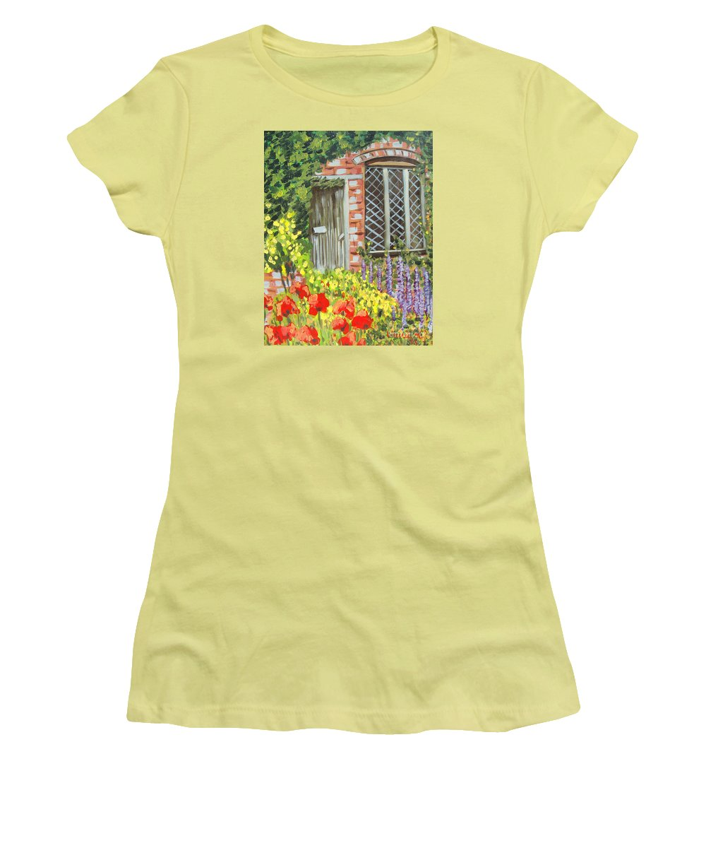 Windows Women's T-Shirt (Athletic Fit) featuring the painting The Artist's Cottage by Laurie Morgan