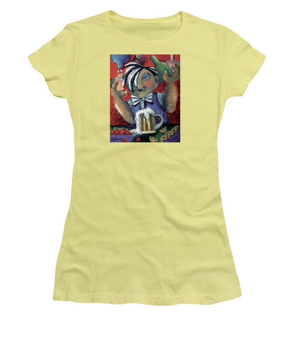 Bartender Women's T-Shirt (Athletic Fit) featuring the painting The Bartender by Elizabeth Lisy Figueroa