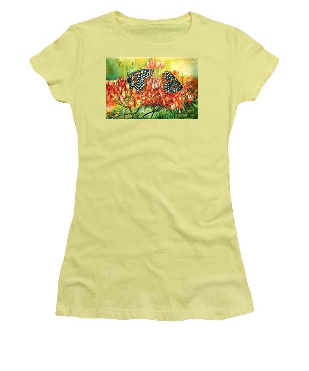 Butterflies Artwork Women's T-Shirt (Athletic Fit) featuring the painting The Beauty Of Spring by Norma Boeckler