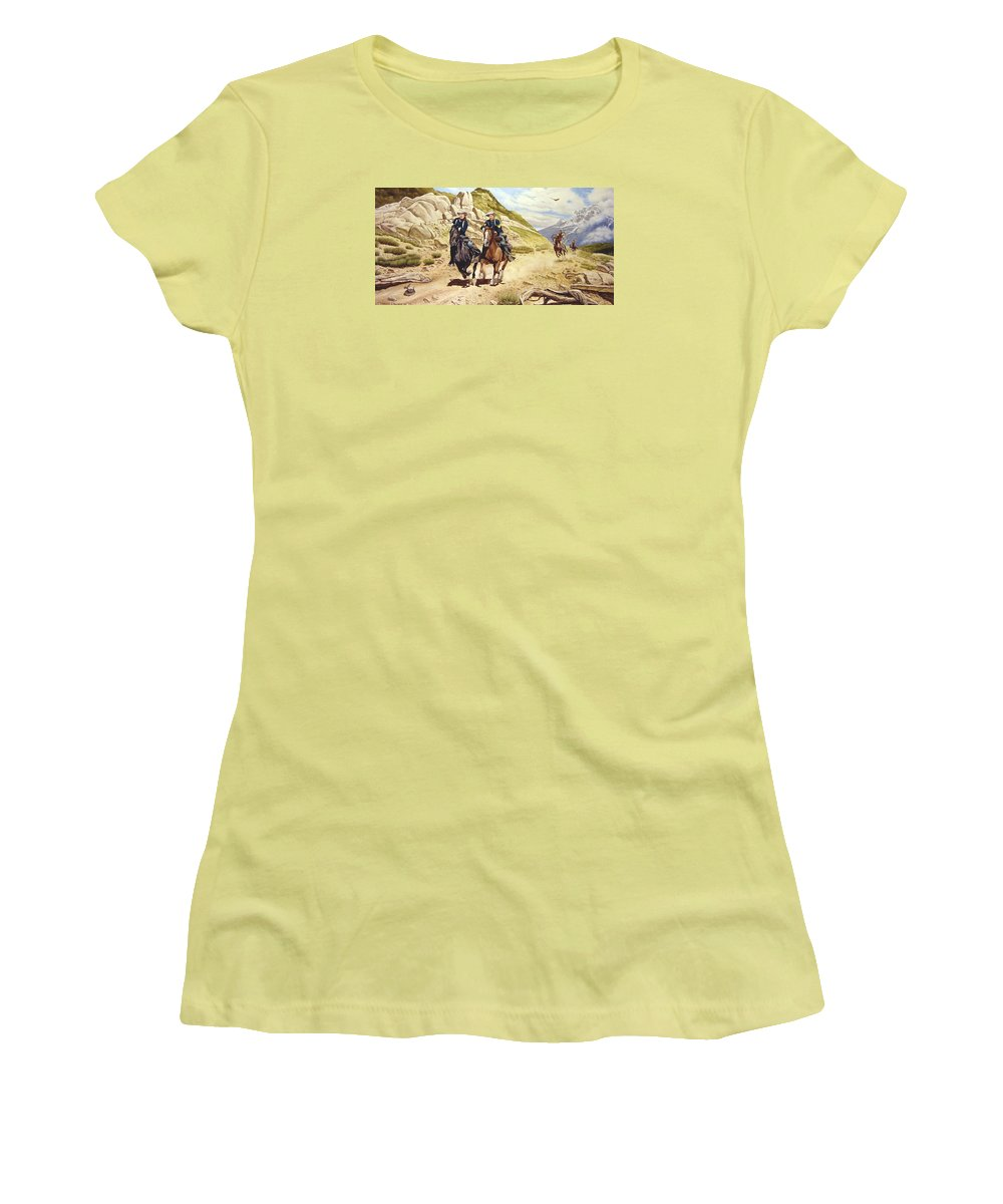 Western Women's T-Shirt (Athletic Fit) featuring the painting The Chase by Marc Stewart