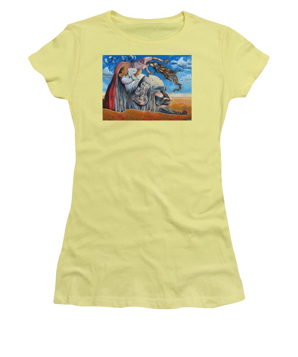 Surrealism Women's T-Shirt (Athletic Fit) featuring the painting The Eternal Obsession Of Don Quijote by Darwin Leon