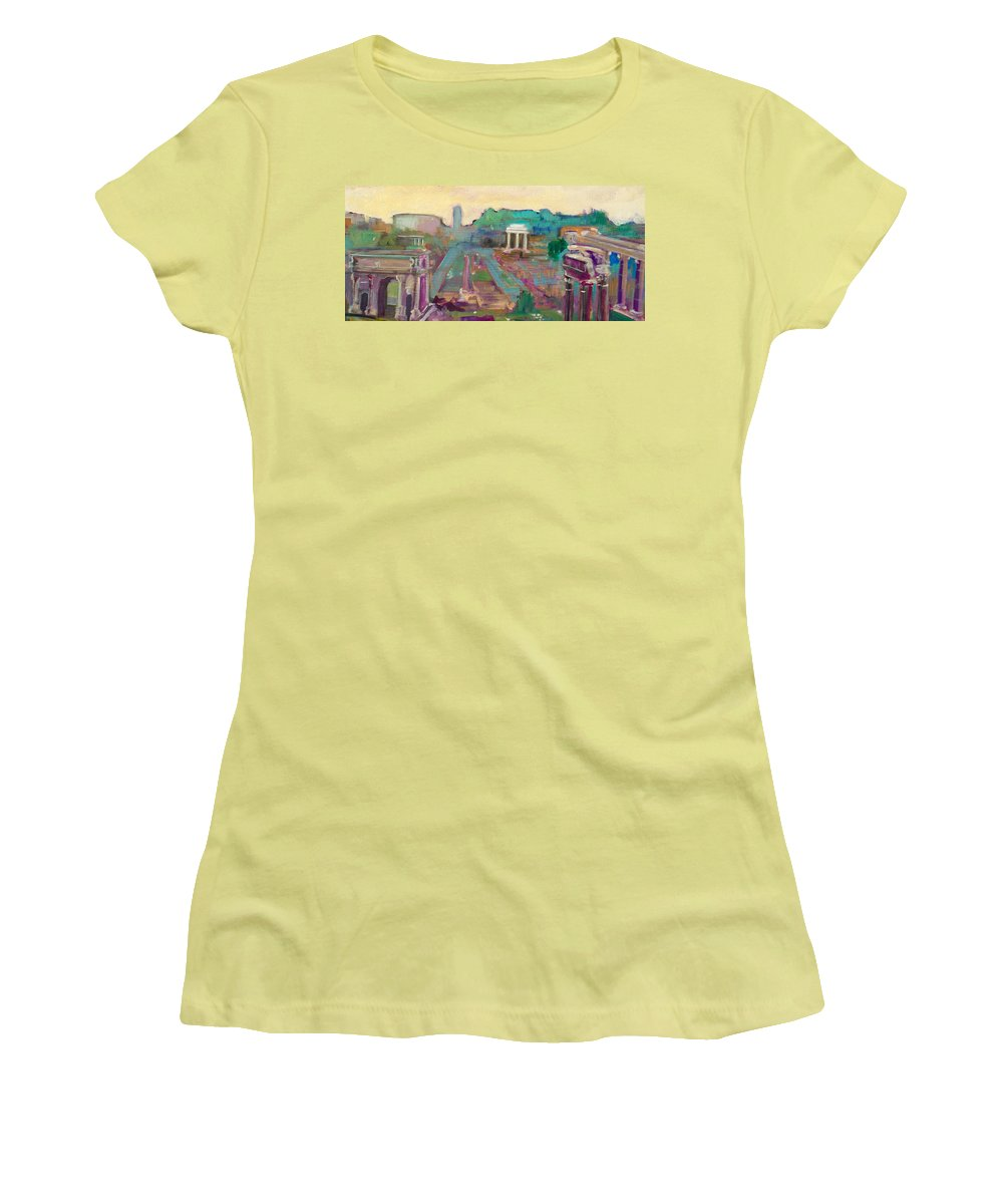 Rome Women's T-Shirt (Athletic Fit) featuring the painting The Forum Romanum by Kurt Hausmann