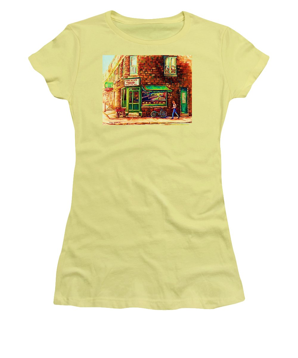 Montreal Women's T-Shirt (Athletic Fit) featuring the painting The Little Red Wagon by Carole Spandau