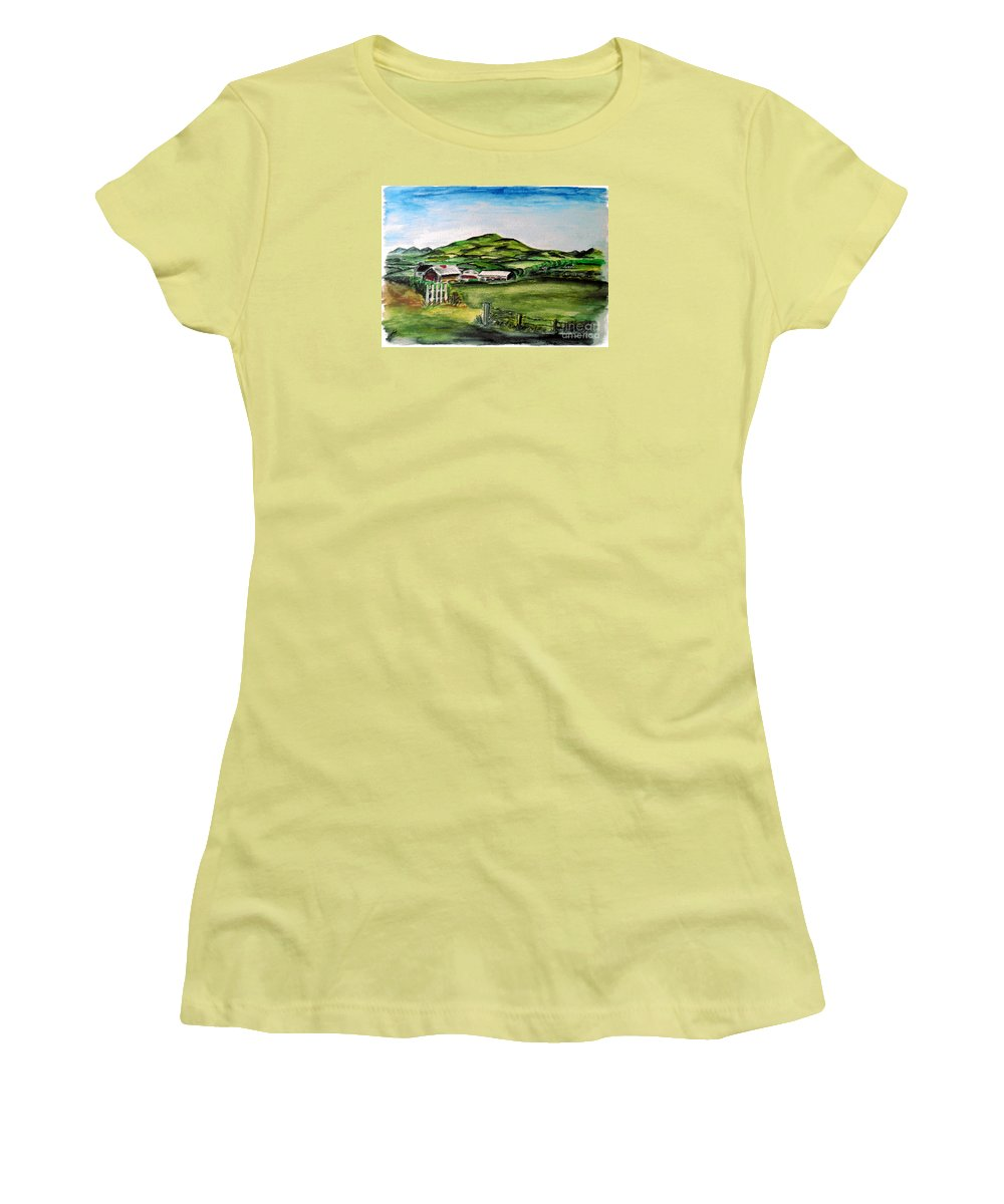 Landscape Women's T-Shirt (Athletic Fit) featuring the painting The Old Farm by Alan Hogan