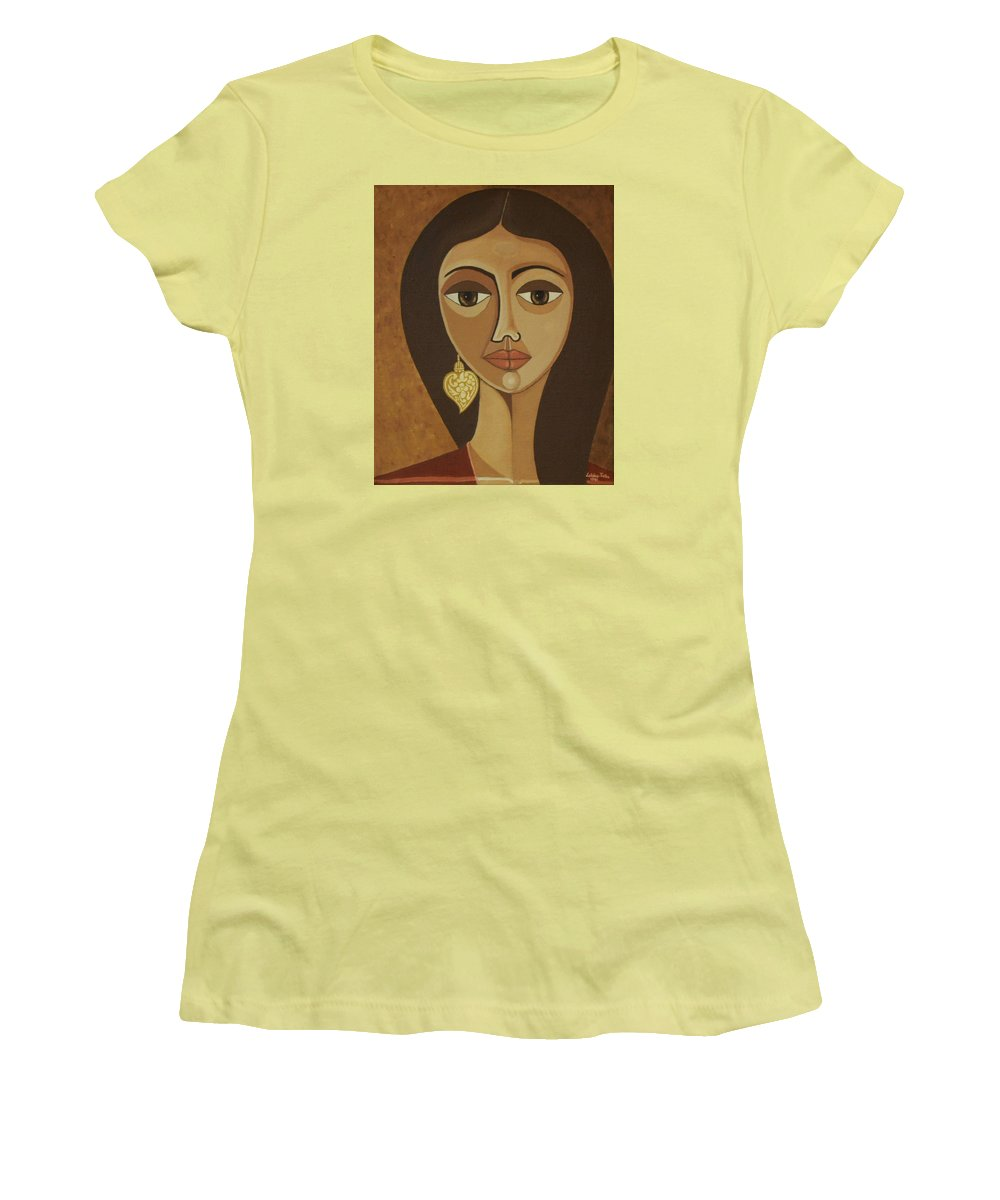 Portuguese Women's T-Shirt (Athletic Fit) featuring the painting The Portuguese Earring by Madalena Lobao-Tello