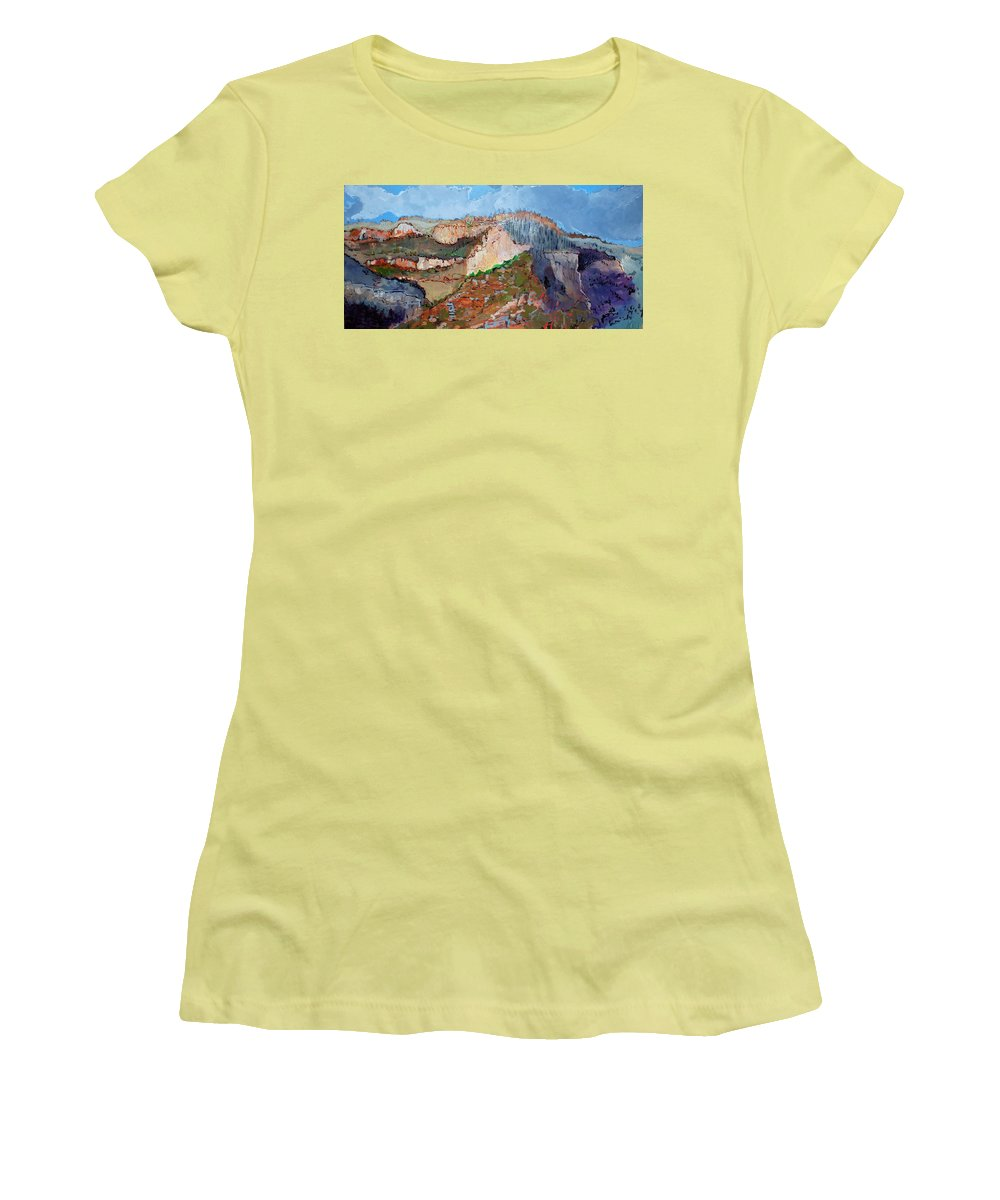 Mountains Women's T-Shirt (Athletic Fit) featuring the painting The Rockies by Kurt Hausmann