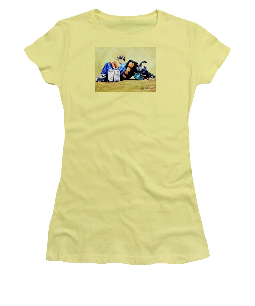 Travel Women's T-Shirt (Athletic Fit) featuring the painting The Traveler 2 - El Viajero 2 by Rezzan Erguvan-Onal