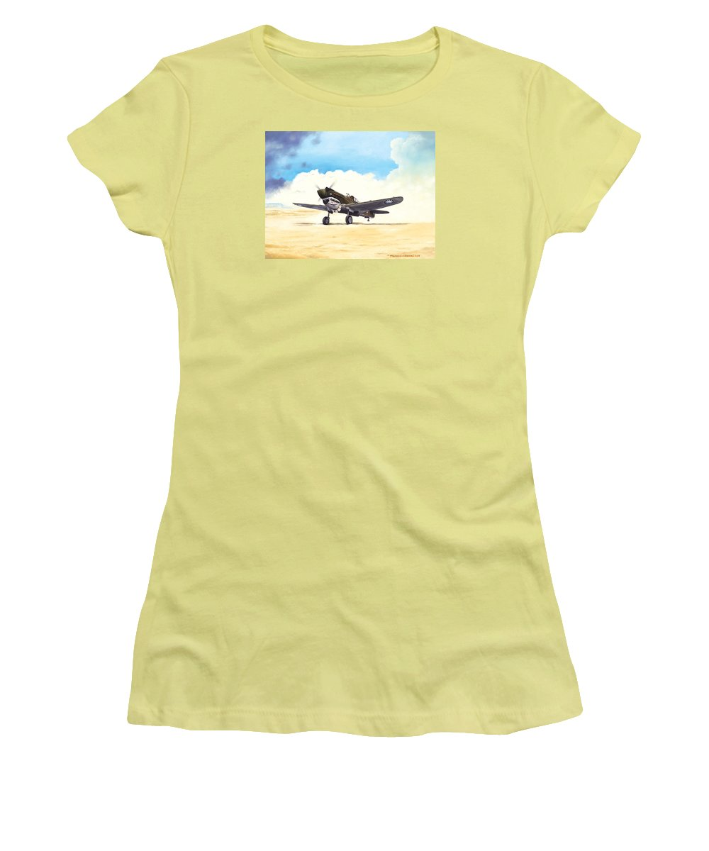 Aviation Women's T-Shirt (Athletic Fit) featuring the painting Tiger Scramble by Marc Stewart