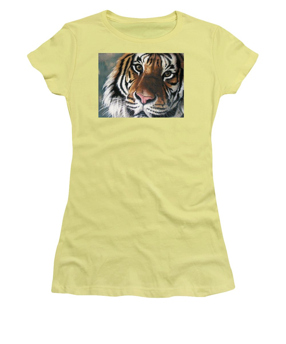 Tiger Women's T-Shirt (Athletic Fit) featuring the pastel Tigger by Barbara Keith