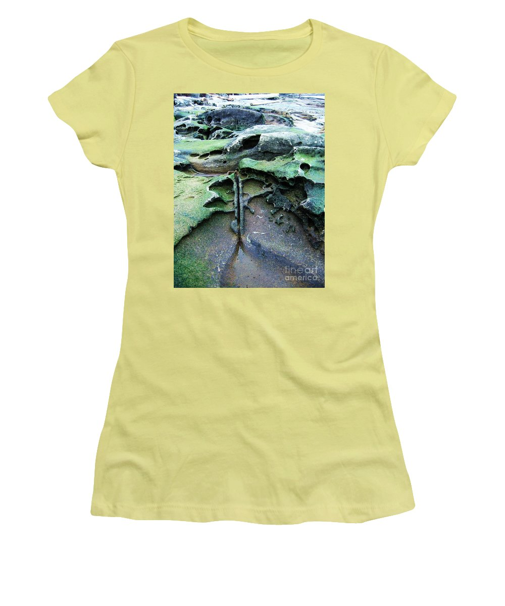 Photograph Rock Beach Ocean Women's T-Shirt (Athletic Fit) featuring the photograph Time Washed Out by Seon-Jeong Kim