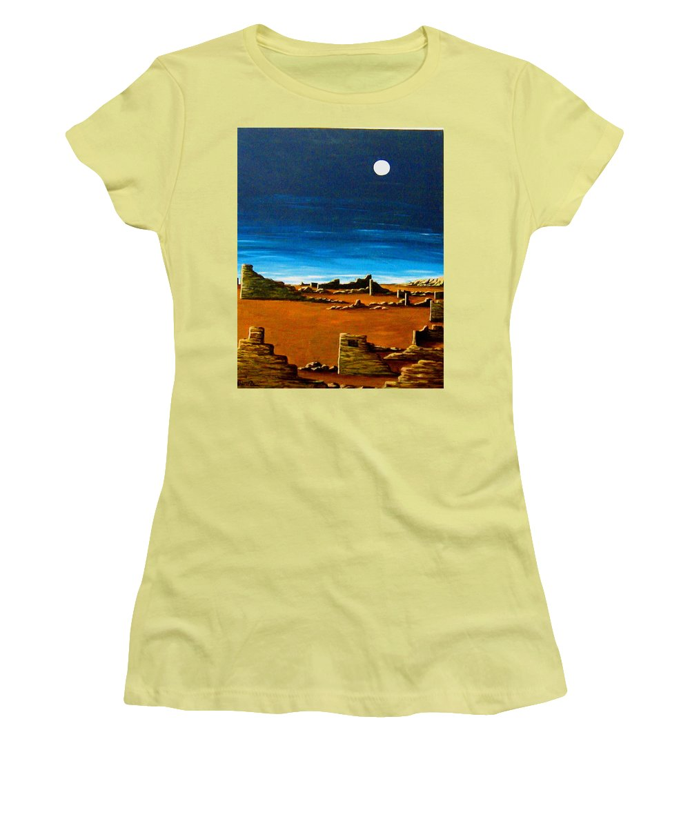Anasazi Women's T-Shirt (Athletic Fit) featuring the painting Timeless by Diana Dearen