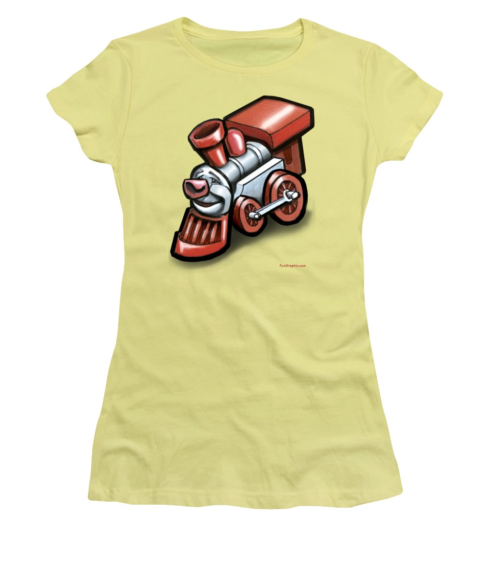 Train Women's T-Shirt (Athletic Fit) featuring the digital art Toy Train by Kevin Middleton