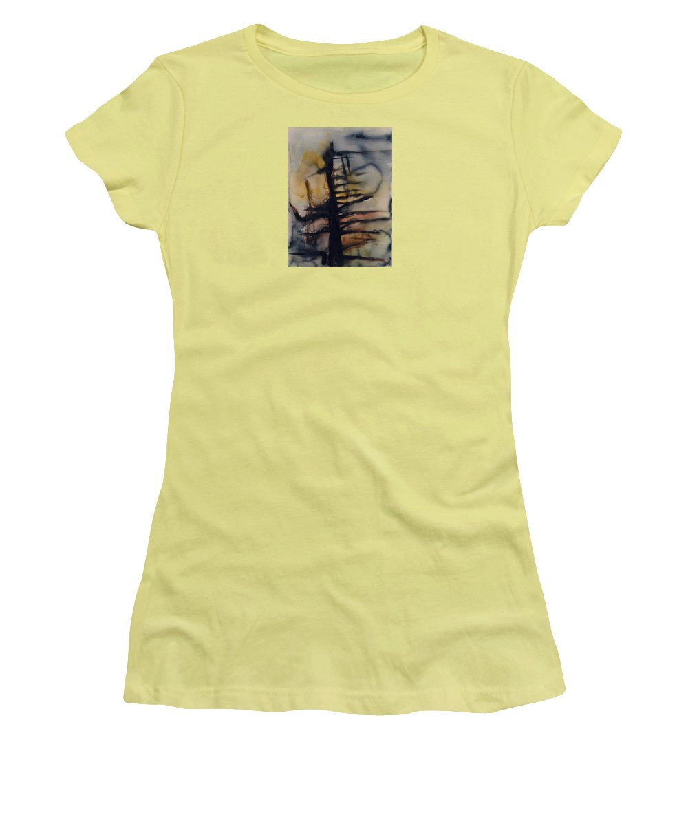 Tree Abstracted Original Watercolor Silhouette Open Branches Limbs Trees Women's T-Shirt (Athletic Fit) featuring the painting Tree Series Vi by Leila Atkinson