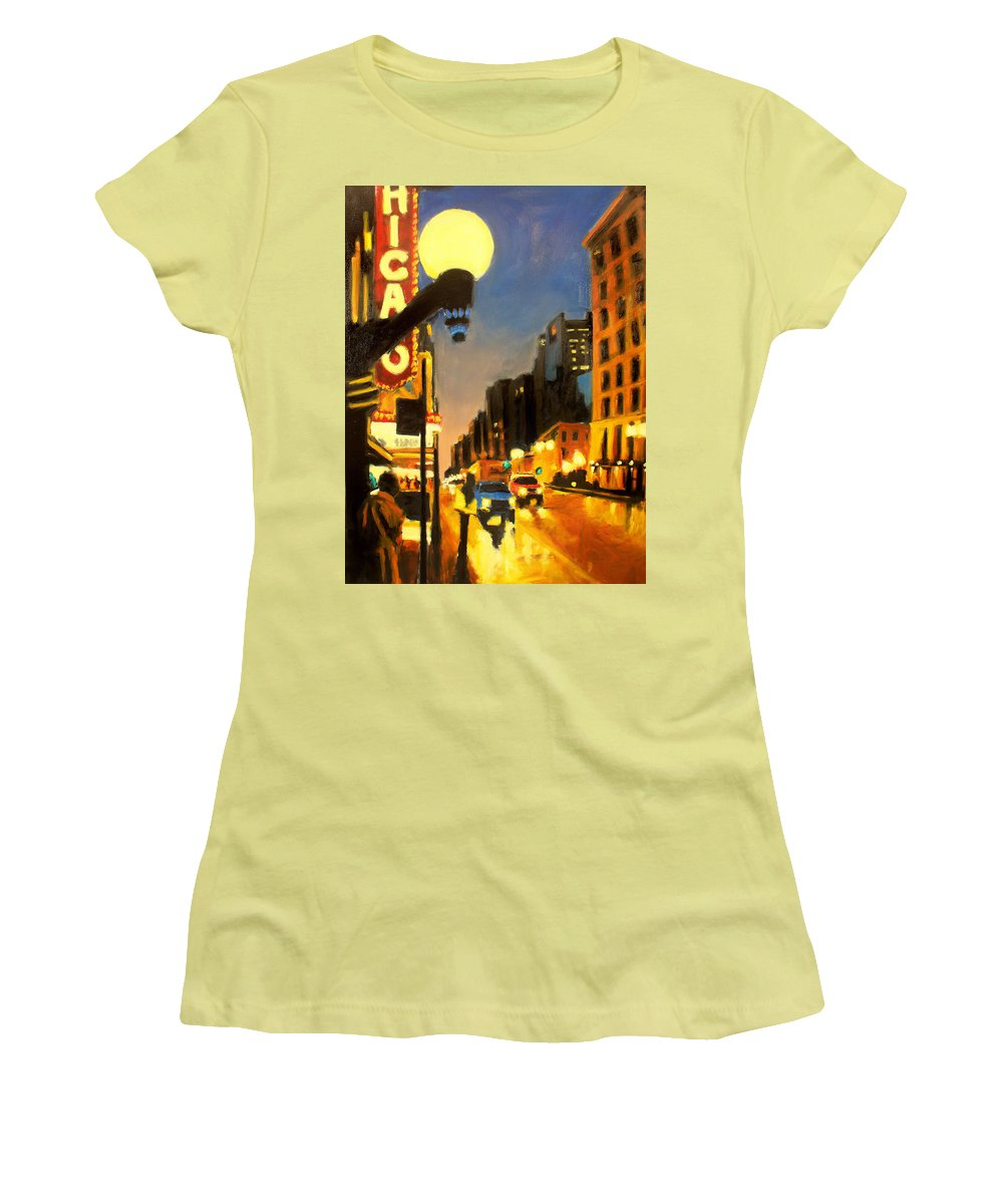 Rob Reeves Women's T-Shirt (Athletic Fit) featuring the painting Twilight In Chicago - The Watcher by Robert Reeves