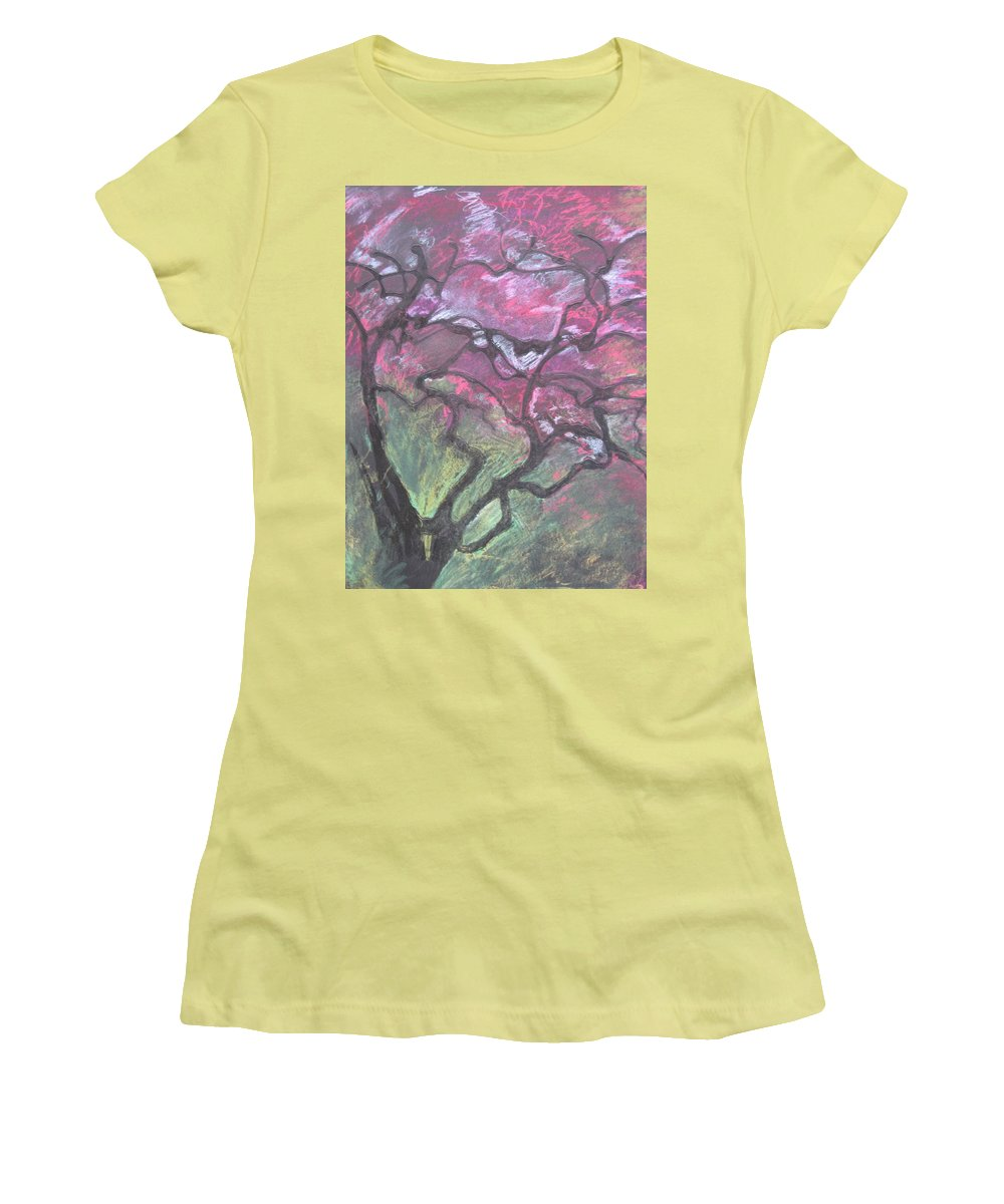 Pastel Women's T-Shirt (Athletic Fit) featuring the drawing Twisted Cherry by Leah Tomaino