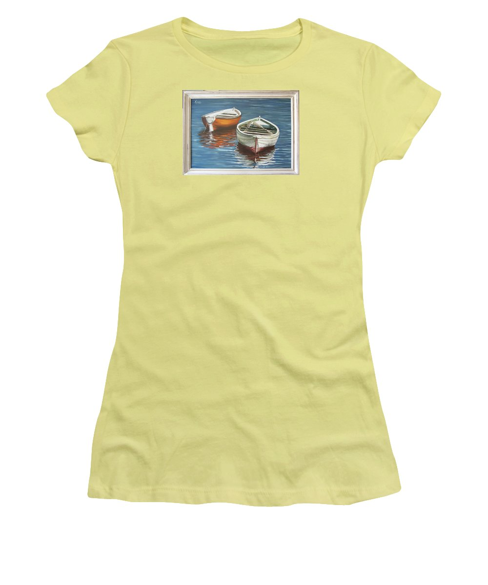 Boats Reflection Seascape Water Boat Sea Ocean Women's T-Shirt (Athletic Fit) featuring the painting Two Boats by Natalia Tejera