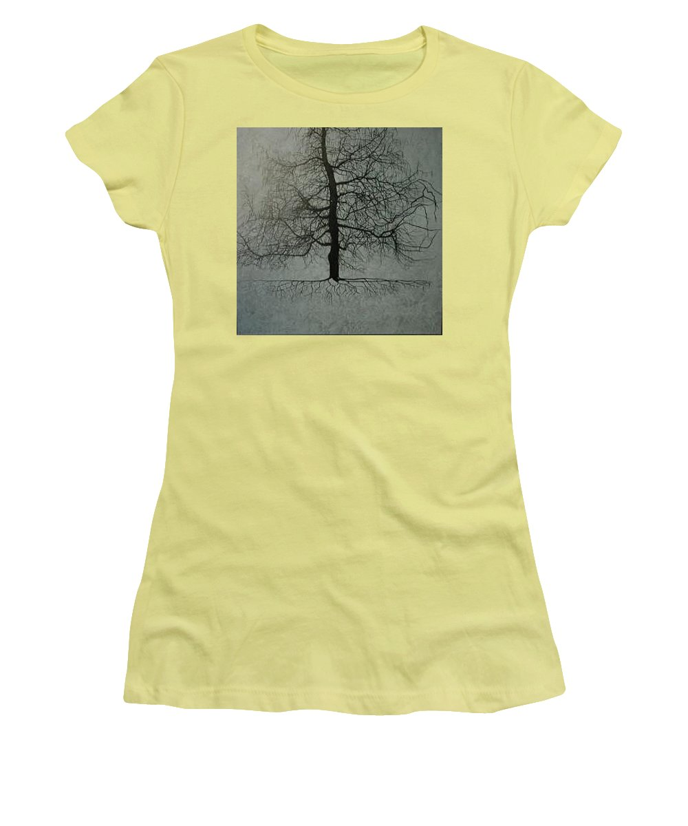 Silhouette Women's T-Shirt (Athletic Fit) featuring the painting Untitled Blue by Leah Tomaino