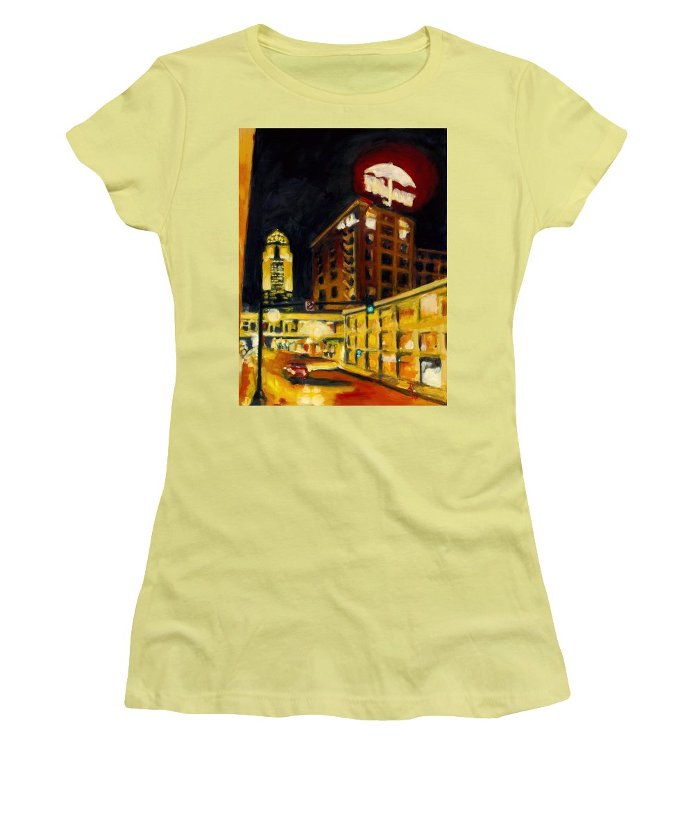Rob Reeves Women's T-Shirt (Athletic Fit) featuring the painting Untitled In Red And Gold by Robert Reeves