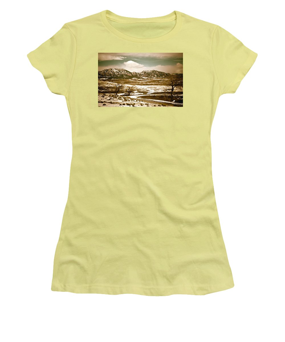 Landscape Women's T-Shirt (Athletic Fit) featuring the photograph Flatironsview From Superior by Marilyn Hunt