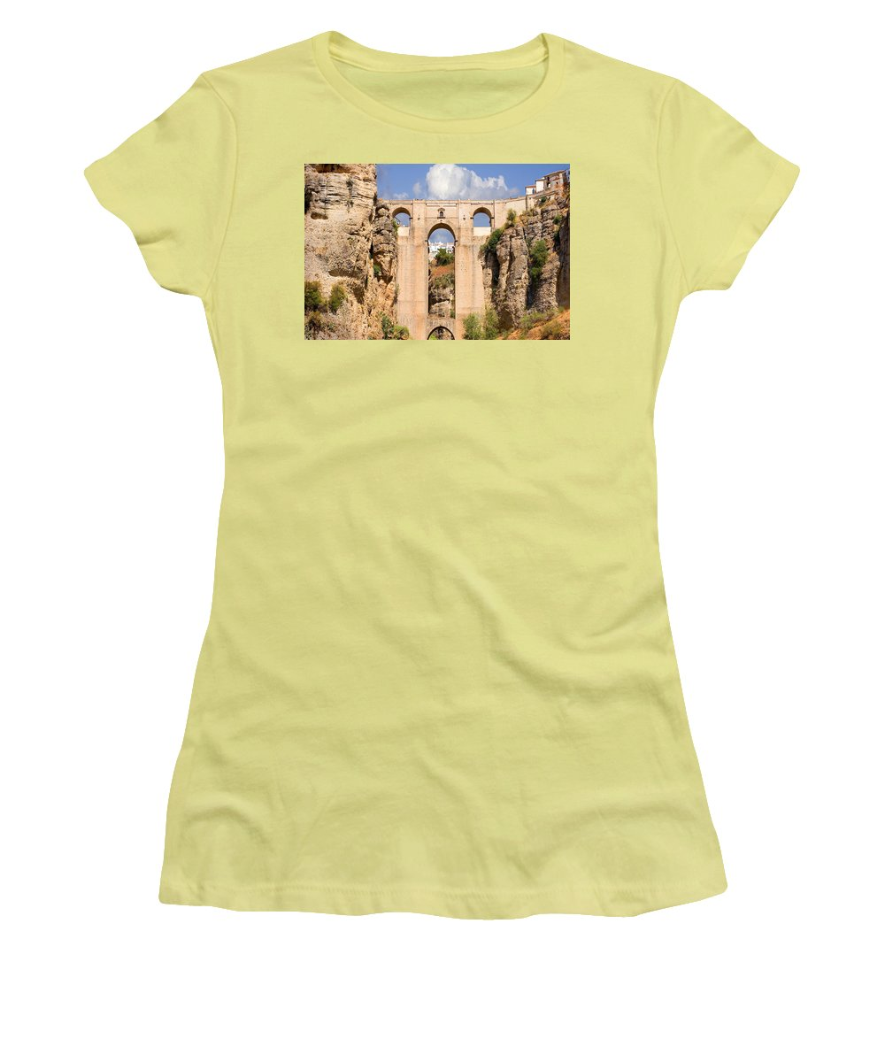 Ronda Women's T-Shirt (Athletic Fit) featuring the photograph View Of The Tajo De Ronda And The Puente Nuevo Bridge From Across The Valley by Mal Bray