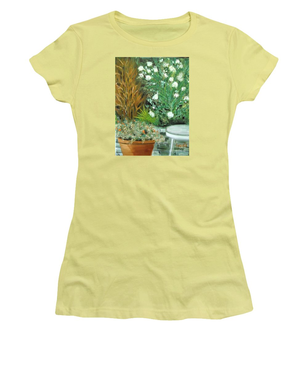 Virginia Women's T-Shirt (Athletic Fit) featuring the painting Virginia's Garden by Laurie Morgan